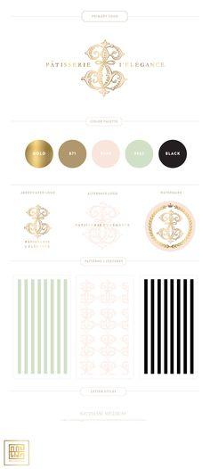 Patisserie Elegance Branding - New Branding for French Pastry Chef: Custom Monogram, Patterns, Gold Foil, Mint, Blush by Emily McCarthy  #branding #graphicdesign #retailbranding