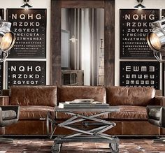 Industrial Decor furniture, also use Turkish carpets, metal file cabinets, garage standing tool chests