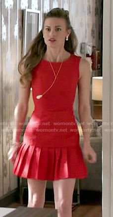 Paige's red pleated drop waist dress on Royal Pains.  Outfit Details: http://wornontv.net/50648/ #RoyalPains
