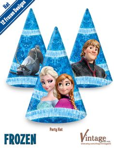 Disney Frozen Birthday Party Hat Images digital file от VintageDS, $4.99