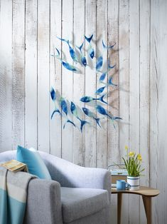 13 Piece Reef Shoal, handmade glass wall hanging from Jo Downs new Shoaling Fish collection.