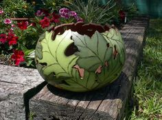 natskreations - Hand Painted Woodburned Large Gourd Bowl with Green Leaves Pre Order Only #etsy $47.95