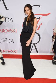 Victoria Beckham in her own design at the 2015 CFDA Fashion Awards. See all the looks from the night.