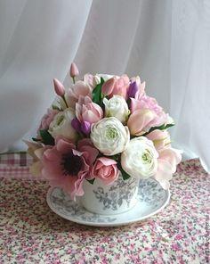 """Купить Чашечка """"50 оттенков розового """" - розовый, цветы ручной работы"""