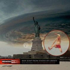 Sandy: Man jump from Statue of Liberty