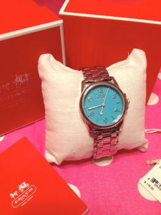 Coach Sydney Silver Stainless Steel Bracelet Turquoise Dial Watch 2014   eBay