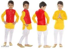 Kurta Sets Cotton Blend Kid's Boy's Kurta Set Fabric: Kurta - Cotton, Pyjama - Cotton , Jacket - Cotton  Sleeves: Kurta - Sleeves Are Included , Jacket - Sleeves Are Not Included  Size: Age Group (1 - 2 Years) - 20 in  Age Group (2 - 3 Years) - 22 in  Age Group (3 - 4 Years) - 24 in  Age Group (4 - 5 Years) - 26 in  Age Group (5 - 6 Years) - 28 in  Age Group (6 - 7 Years) - 30 in  Type: Stitched  Description: It Has 1 Piece Of Kid's Boy's Kurta & 1 Piece Of Kid's Boy's Pyjama & 1 Piece Of Kid's Boy's Jacket  Pattern: Kurta - Solid , Pyjama - Solid , Jacket - Solid Sizes Available: 2-3 Years, 3-4 Years, 4-5 Years, 5-6 Years, 6-7 Years, 12-18 Months, 18-24 Months, 1-2 Years   Catalog Rating: ★3.9 (453)  Catalog Name: Doodle Amazing Cotton Blend Kid'S Boy'S Kurta Sets Vol 9 CatalogID_526640 C58-SC1170 Code: 172-3761617-
