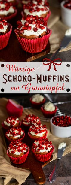 Würzige Schoko-Muffins mit Granatapfel-Topping / Allspice muffins with pomegranate topping