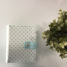 Pastel green Fabric planner with dots Refillable,Fabric Notebook with two ring Binding mechanism,Agenda with 300 pages Planner Board, Kikki K Planner, Hand With Ring, Pen Holders, Planners, Make It Yourself, Sewing, Create, Simple