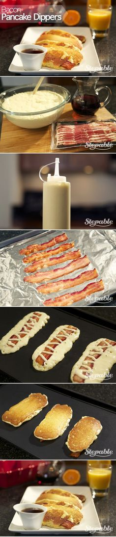 Bacon Pancake Dippers. These are super easy to make and the family will love them! #stepable