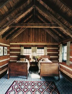 Log cabin rustic twin beds