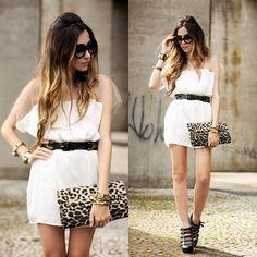 White dress, leopard clutch, booties