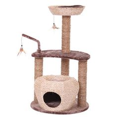 Petpals King Cat Tree, $99.99 Costco.ca, Made From Recycled Newspaper And  Plush Carpet With A Feather Toy That Cat Can Bat And Play With And Perfecu2026