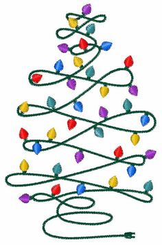Christmas Tree Lights embroidery design