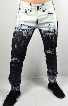 dea51b46f Details about True Religion Men s Rocco Distressed Paint Splatter Relaxed  Skinny Jeans 100354