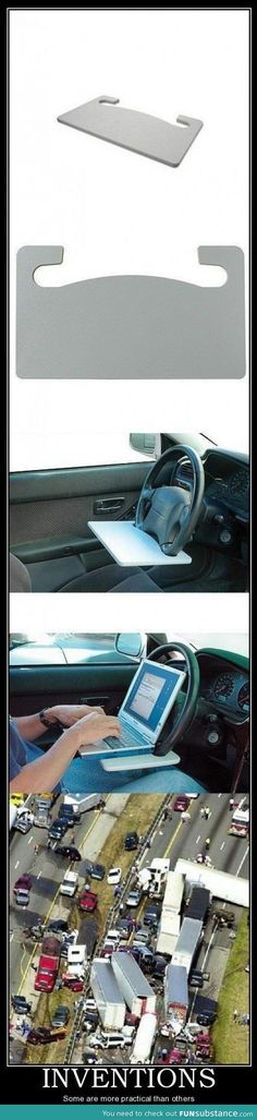 Cool invention! Wait... Notice how the guy in the third picture was still in the parking lot!