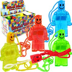 BLOCK MANIA BUBBLE NECKLACES. These adorable mini bubble bottles are modeled after your favorite stackable building block toy characters. Each bottle includes a lanyard to hand around your neck and a bubble wand. Each dozen includes a display box. Assorted bright colors. Perfect for party favors, Easter basket treats and Christmas stocking stuffers.  Size 3 Inches, 24 Inch lanyard, packaging 6 X 4 X 3 Inches