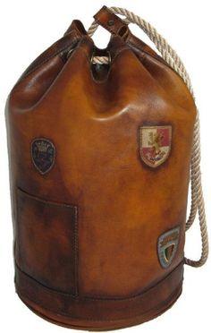 Pratesi Italian Leather Patagonia- Drawstring Leather Sailor Bag, Bruce Black