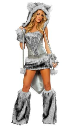 GRAY GREAT WOLF ANIMAL HALLOWEEN CARNIVAL CHRISTMAS COSPLAY COSTUMES FOR WOMEN LADIES FANCY DRESS PARTY ROLEPLAY