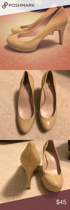 Patent leather pumps Vince Camuto chic tan patent leather pumps. I'm so sad I have to get rid of these but they are just the wrong size. Vince Camuto Shoes Heels