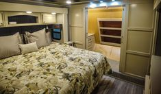 With the vanity slide added to this fifth wheel. There is plenty of space to get dressed in the morning. Fifth Wheel Living, Luxury Fifth Wheel, Luxury Rv, Rv Living, Vanity, Bedroom, Space, Furniture, Design