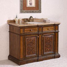 antique legion 48 inch bathroom vanity travertine top single sink in light walnut finish