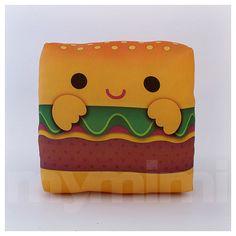Mini oreiller - délicieux Hamburger ♡ Fait une grande addition à nimporte quel enfant chambre du & est amusant à emmener partout ! Farcis de polyester