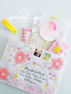 Summer mail - pink and yellow envelope by Bohème Circus