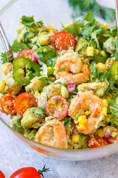 Shrimp Avocado Corn Salad - A tasty and healthy salad recipe perfect for a nourishing lunch on a hot summer day.
