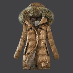 2013 New! France Moncler Euramerican Style Down Coats Womens Light Tan Outlet