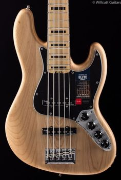 Fender American Elite Jazz Bass V Natural 2016 for sale online Acoustic Bass Guitar, Guitar Art, Cool Guitar, Fender Jazz Bass, Fender Guitars, Bass Guitars, Stratocaster Guitar, Cool Electric Guitars, Guitar