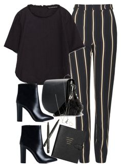 """""""Untitled #1959"""" by roxy-camarena ❤ liked on Polyvore featuring Topshop, Zara, MANGO, Nly Shoes, Smythson, Tiffany & Co., Yves Saint Laurent and Minor Obsessions"""