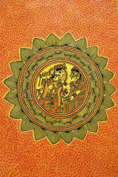 A painting by an artist of Jitwarpur (Bihar), Godhana style.