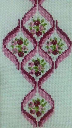 Discover thousands of images about bargello ribbons Cross Stitch Borders, Cross Stitch Flowers, Cross Stitch Designs, Cross Stitching, Cross Stitch Patterns, Crochet Patterns, Broderie Bargello, Bargello Needlepoint, Hand Embroidery Stitches