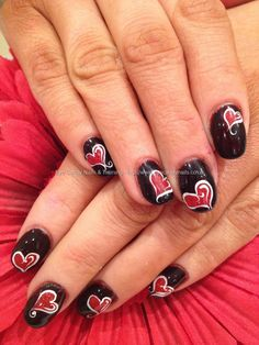 Acrylic nails with red and black valentine love heart gel freehand nail art