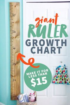 This DIY Giant Growth Chart Ruler is great for a kid's room or nursery and is way cheaper to get than its pricey Pottery Barn counterpart. Growth Chart Ruler, Growth Charts, Baby Growth, Charts For Kids, Coffee Lover Gifts, Diy For Kids, Pottery Barn, Improve Yourself, Nursery