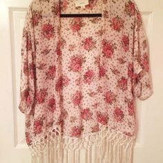 Floral fringe kimono I absolutely love this piece! Perfect to throw over a dress or simple tank. Sweaters Cardigans
