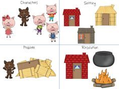 Home Sweet Speech Room : The Three Little Pigs Storybook Companion Language Activities, Book Activities, Preschool Activities, Nursery Rhymes Preschool, Traditional Tales, Three Little Pigs, Kindergarten Literacy, Book Themes, Conte