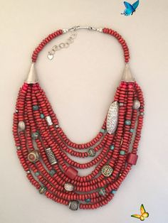 Handcrafted Tibetan glass and silver statement necklace.  One-of-a-kind.<br> Diy Jewelry Necklace, Short Necklace, Boho Jewelry, Bridal Jewelry, Beaded Jewelry, Silver Jewelry, Beaded Necklaces, Necklace Ideas, Silver Ring