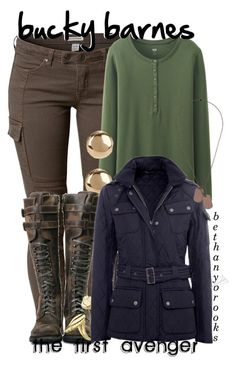 """""""✪// bucky barnes --bethany"""" by bethanybrooks ❤ liked on Polyvore featuring Savannah, Uniqlo, Jules Smith, Aamaya by priyanka, Barbour, Topman and buckybarnes"""