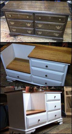 Ideas Diy Furniture Ideas Decor Old Dressers For 2019 Apartment Furniture, Home Furniture, Furniture Design, Apartment Ideas, Bedroom Furniture, Dresser Furniture, Furniture Repair, Metal Furniture, Furniture Stores