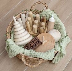 A beautiful collection of wooden toys ready to be explored Toddler Toys, Kids Toys, Organic Baby Toys, Natural Toys, Homemade Toys, Waldorf Toys, Montessori Toys, Cute Toys, Baby Play