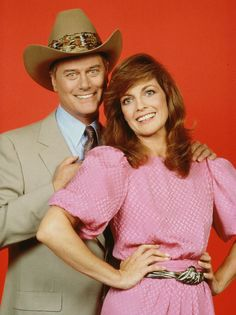 Larry Hagman and Dallas co-star Linda Gray