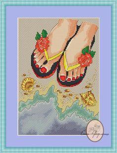 Бесплатные схемы – 47 фотографий Cross Stitching, Cross Stitch Embroidery, Cross Stitch Patterns, Cross Stitch Sea, L Love You, Stitch 2, Loom Beading, Beach Babe, Diy And Crafts