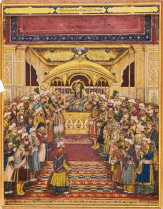 The durbar of Akbar Shah II, India, Mughal, Delhi, first half Century Mughal Miniature Paintings, Mughal Paintings, Islamic Paintings, Indian Paintings, Islamic World, Islamic Art, History Projects, Art History, Delhi Sultanate