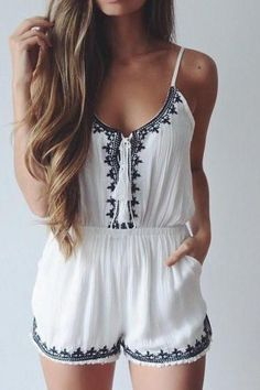 EMBROIDERED SUSPENDERS JUMPSUITS