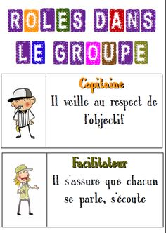 rôles groupe - maybe a bit much for 1s but good to pass on to another teacher in a higher grade