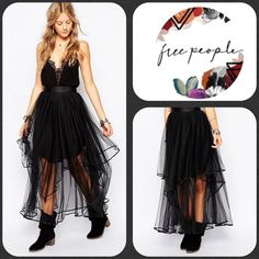 ✨▪️Free People Keep Me TuTu Skirt▪️✨ ✨Absolutely Gorgeous Black Free People TuTu Skirt✨NWTS✨Size 12 Free People Skirts Maxi