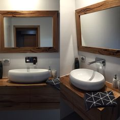 Solid hardwood timber floating vanity with matching mirror Timber Vanity, Timber Furniture, Floating Vanity, Hardwood, Sink, Mirror, Bathroom, Home Decor, Sink Tops