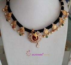 Beautiful Black Dori Necklace Designs, 22K Gold Black Dori Necklace Models, Black Threaded Necklace Collections.
